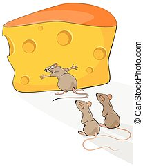 Rat with cheese - Vector illustration of a rat with cheese