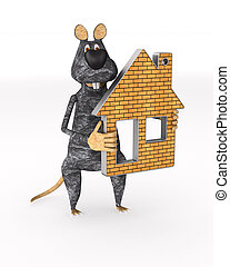 rat with house on white background. isolated 3d illustration