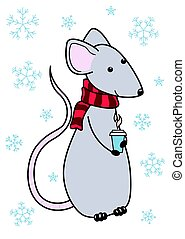 Rat year 2020. Vector cartoon rat. Symbol chinese happy new year 2020. Design for consept postcard, calender. Rat in a scarf with a Cup of coffee. Lunar horoscope sign. Isolated on white background.
