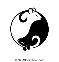 Rat yin yang - Black and white rat or mouse in yin yang...