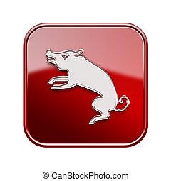 rat, zodiaque, icône, rouges, isolé, blanc, arrière-plan.