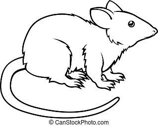 rata, estilizado, ilustración