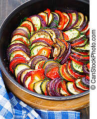 Ratatouille in a pan - Delicious freshly cooked ratatouille...