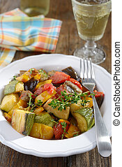 Ratatouille on a rustic table