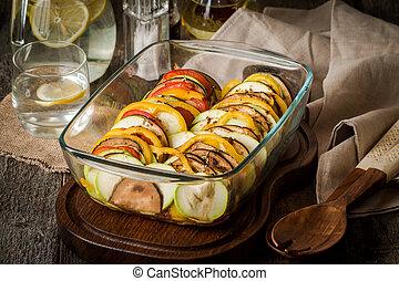 ratatouille, -, tradicional, francês, provencal, vegetal, prato