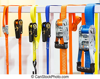 Ratchet tie down - Close up varieties size and type of...