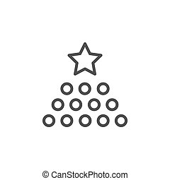 Rate level line outline icon isolated on white. Evaluation, ...