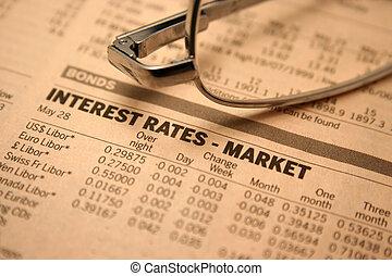 raten, -, interesse, markt