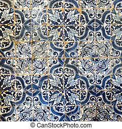 Detail of the original eighteen century blue tiles decorating the walls of the Chapel of Senhor da Praca in Rates, Portugal