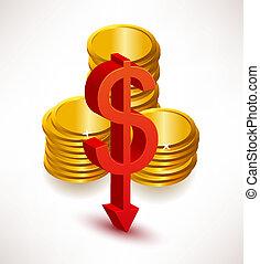 rates., conceito, dólar, câmbio
