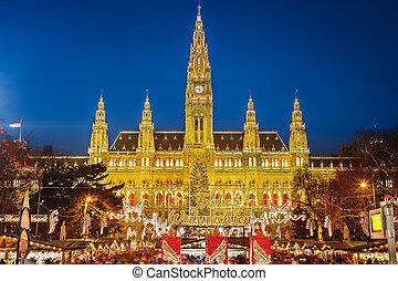 rathaus, クリスマス, 市場, ウィーン