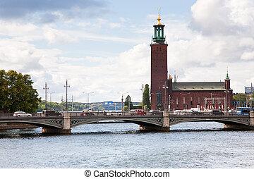 rathaus, ansicht, schweden, stockholm