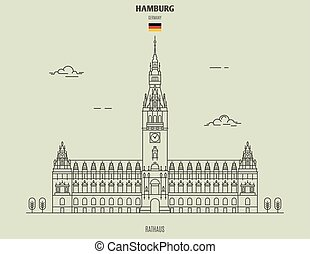 rathaus, en, hamburgo, germany., señal, icono