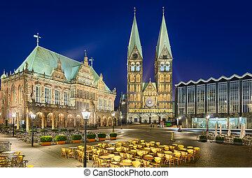 rathaus, und, kathedrale, von, bremen, deutschland