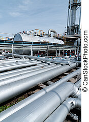 Ratification column - View gas pipe. gas and oil industry