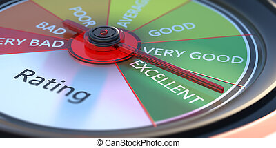 Rating, car dashboard speedometer, close up view. 3d illustration