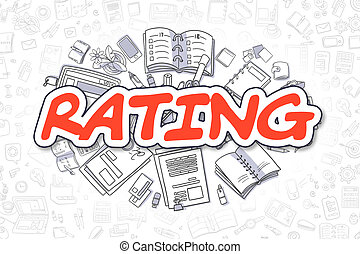 Rating - Doodle Red Inscription. Business Concept.