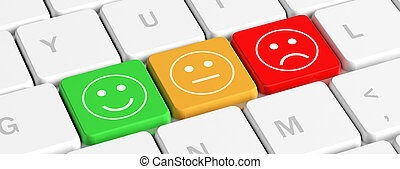 Rating, feedback. Key buttons with emoticons on a computer keyboard, banner. 3d illustration