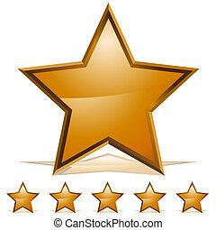 rating, fem, guld, stjerner, ikon