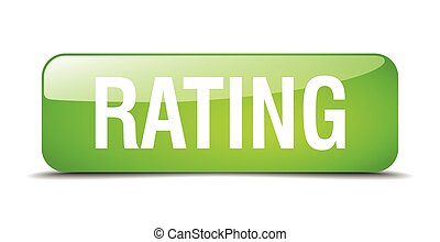 rating green square 3d realistic isolated web button