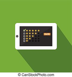 Rating illustration. Flat design. Rating system on phone screen. Giving feedback concept.