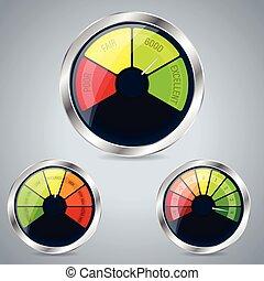 Rating meter design set of three
