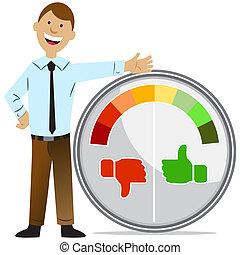 Rating Meter Man - An image of a rating meter man.