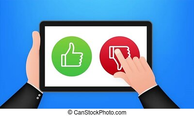 Rating of mobile app. Human hands are holding. Tablet with Yes and No buttons. stock illustration