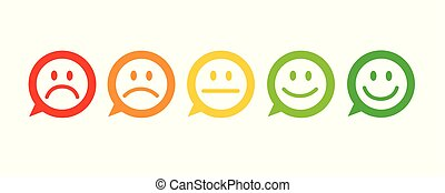 rating satisfaction feedback in form of emotions excellent good normal bad awful speech bubble