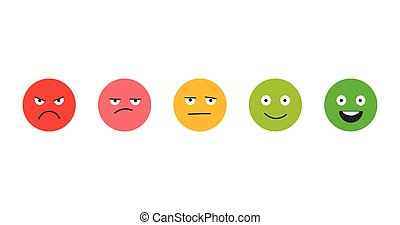 Rating satisfaction. Feedback in form of emotions. Excellent, good, normal, bad awful. Vector illustration isolated on white background.
