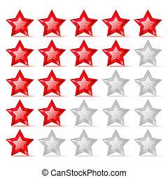 Rating scale with crystal stars isolated on white background