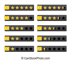 Rating stars buttons isolated on white background