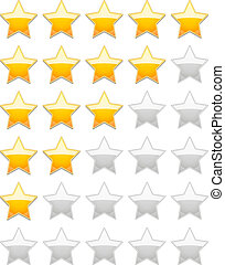 Rating Stars - Vector Rating 5 Stars isolated on white