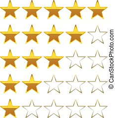 rating stars golden symbols icons