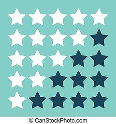 Rating stars on blue