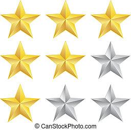 Rating stars on white