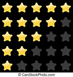 Rating stars panel. Customer review, vote navigation bar. Vector satisfaction level symbol