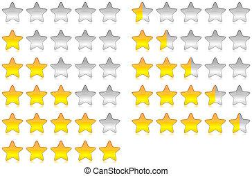 Rating stars - Yellow brilliant and glossy rating stars set...