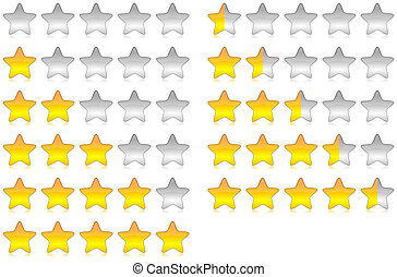 Rating stars - Yellow brilliant and glossy rating stars set ...