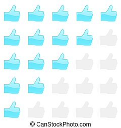 Rating thumbs up panel. Customer review, vote navigation bar. Vector satisfaction, like level symbol