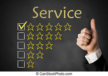 rating, tjeneste, oppe, tommelfingre, stjerner, chalkboard