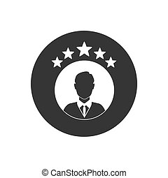 Rating vector icon white isolated on gray