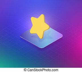 Rating with a 3D star, isometric vector illustration