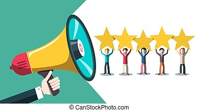 Rating with Stars, People and Megaphone Vector Illustration