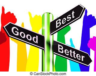 ratings, bon, poteau indicateur, illustration, mieux, représenter, mieux, 3d