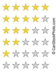 ratings, cinq, étoiles