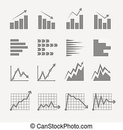 ratings, graficzny, handlowy, collection., wykresy, ...