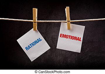 rationnel, vs, émotif, concept.