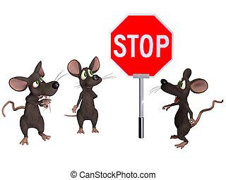 rato, parada, segurando, sinal