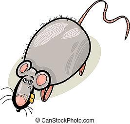 rato, personagem, caricatura, ilustração